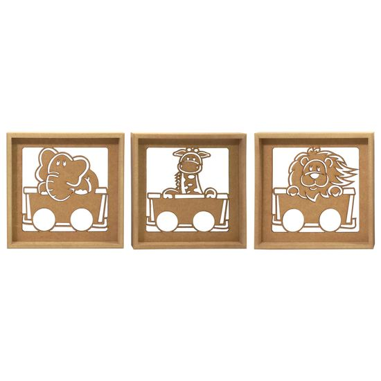 Trio de Quadros Decorativo 3D Safari Motorizado - MDF a Laser