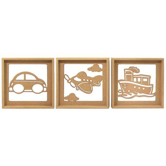 Trio de Quadros Decorativo 3D Transportes - MDF a Laser
