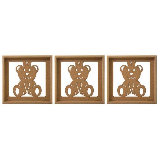 Trio de Quadros Decorativo 3D Ursinha com Laço - MDF a Laser