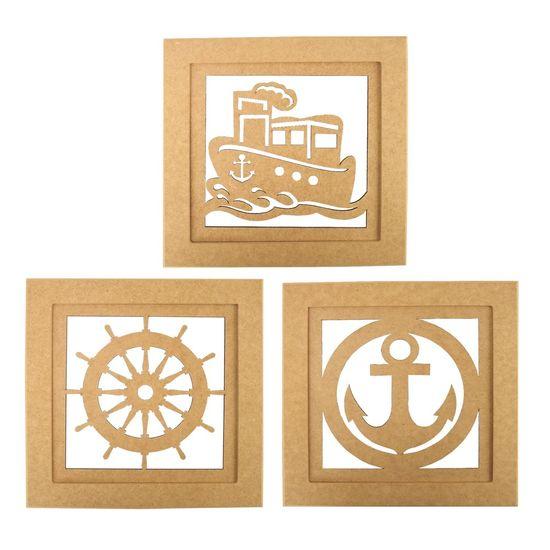 Trio de Quadros Decorativo em MDF Marinheiro 30x30cm - Palácio da Arte