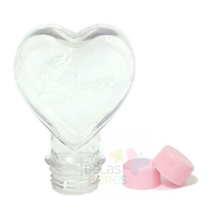 Tubete Pet Coração 15 Anos 100 Ml Tampa Rosa - 10 Unidades