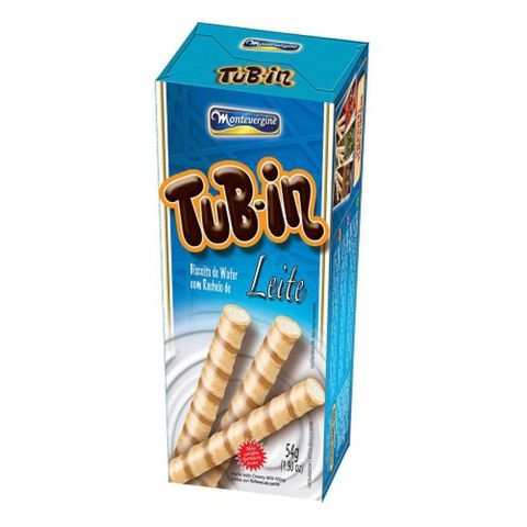 Tubinho de Wafer Tub In Leite 54g C/24 - Montevérgine