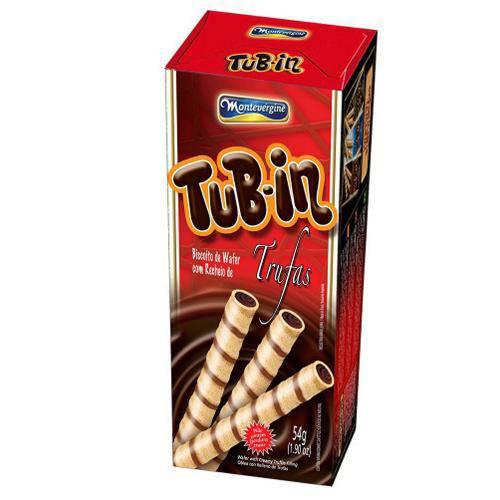 Tubinho de Wafer Tub In Recheio Trufas 48g - Montevergine