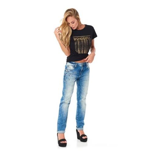 TVZ   Calça Jeans Girlfriend Bordado - 36
