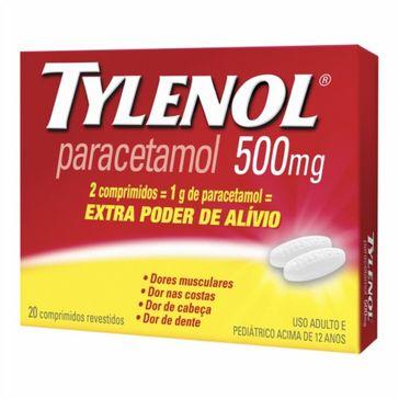 Tylenol 500mg Johnson & Johnson 20 Comprimidos Revestidos