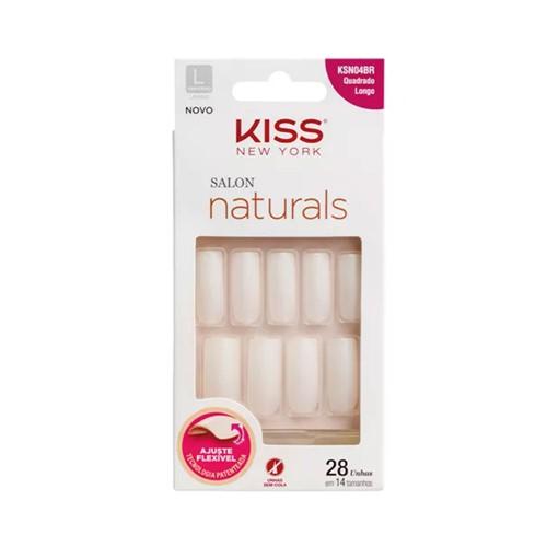 Unhas Postiças Kiss New York Salon Natural Longo Quadrado