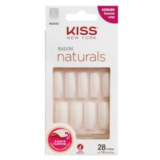 Unhas Postiças Kiss NY - Salon Natural Longo Quadrado 1 Un