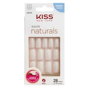 Unhas Postiças Kiss NY - Salon Natural Médio Quadrado 1 Un