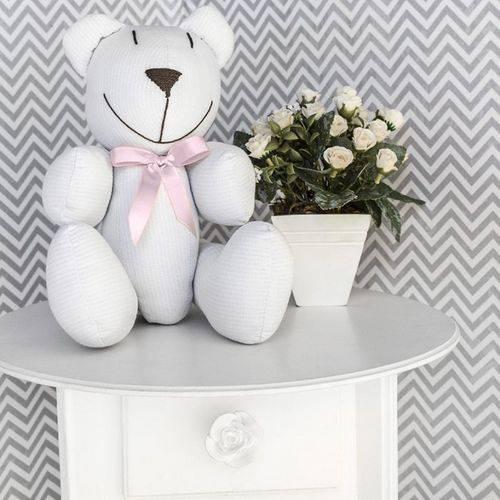 Ursinho Decorativo Piquet Branco e Rosa