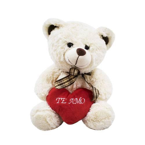 Urso Branco Coração te Amo 30cm - Pelúcia