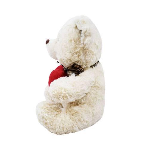 Urso Branco Coração te Amo 60cm - Pelúcia