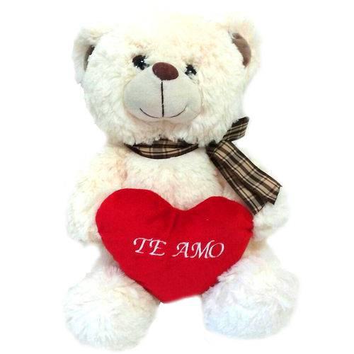Urso de Pelúcia Branco com Coração te Amo 30 Cm