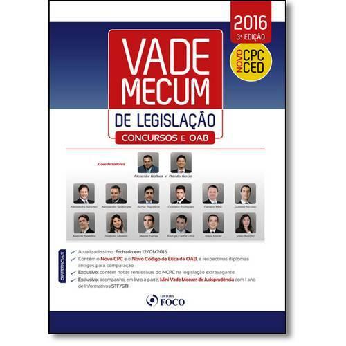 Vade Mecum de Legislação - Acompanha Mini Vade Mecum de Jurisprudência Stf Stj - 2016 - Novo Cpc Ced