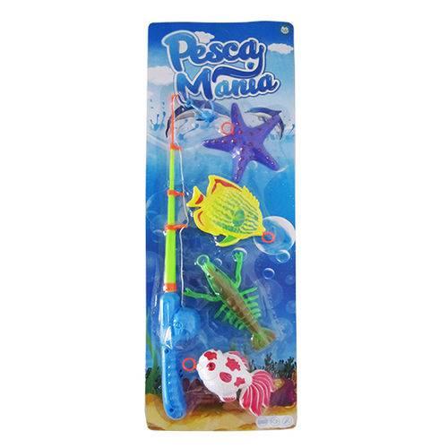 Varinha Pega Peixe com 4 Pecas Colors Pesca Mania na Cartela