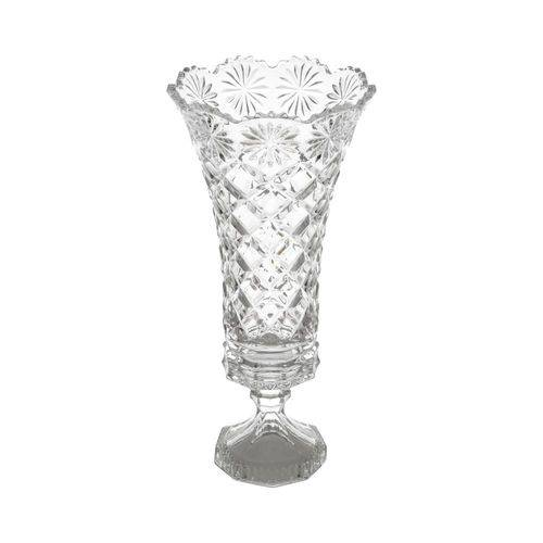 Vaso 33,5cm de Cristal com Pé Diamond Lyor - L3823