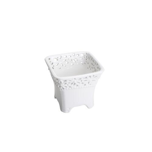 Vaso Branco Flowery 12x11cm