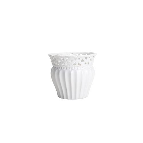 Vaso Branco Lace 12,5x10,5cm