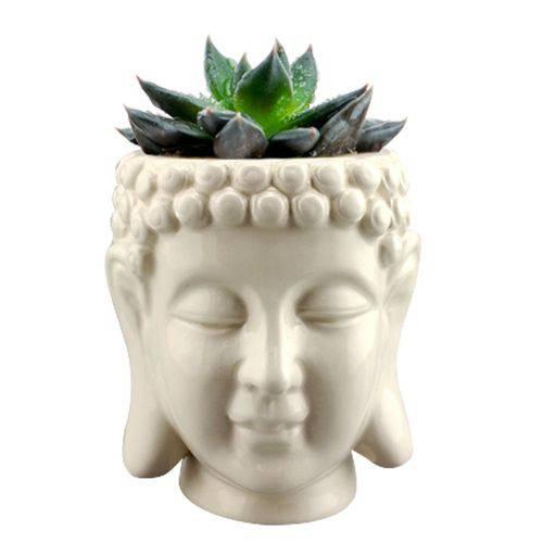 Vaso, Cachepot de Cerâmica Budhas Head Branco Urban - H41014