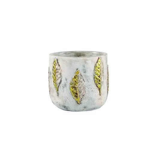 Vaso Cachepot Decorativo Cerâmica Cimento 13,5X12X13,5Cm