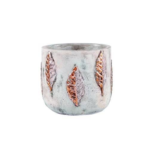Vaso Cachepot Decorativo Cerâmica Cimento 16,5X14,5X16,5Cm