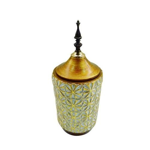 Vaso Ceramica 14 Cm Dourado