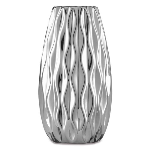 Vaso Cerâmica Prata Manhattan