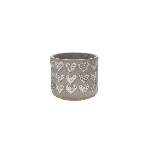 Vaso Cinza Embossed Heart 14x12,5cm