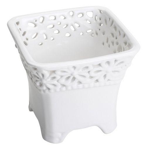 Vaso de Cerâmica Branco Quadrado Elis II 4122 Lyor