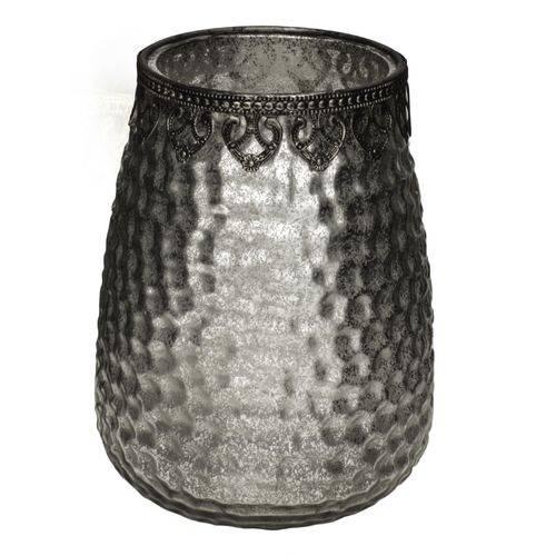 Vaso de Vidro Decorativo Prata