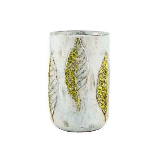 Vaso Decorativo Cimento Dourado 13,5x21cm