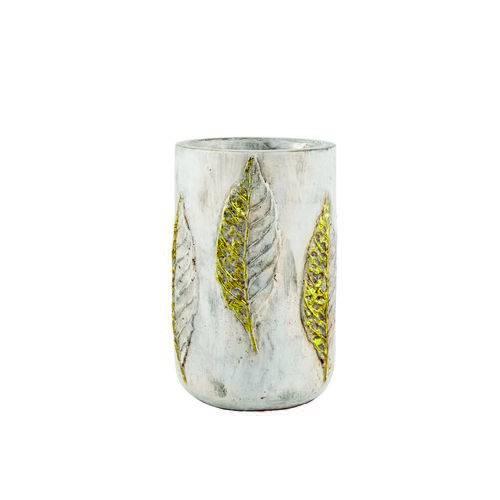Vaso Decorativo Cimento Dourado 12X17,5Cm