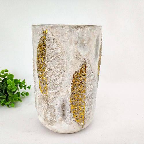 Vaso Decorativo Cimento Folha Dourado 21x13cm Decoração