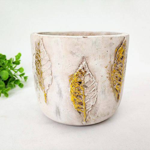 Vaso Decorativo Cimento Folha Dourado 12x13cm Decoração