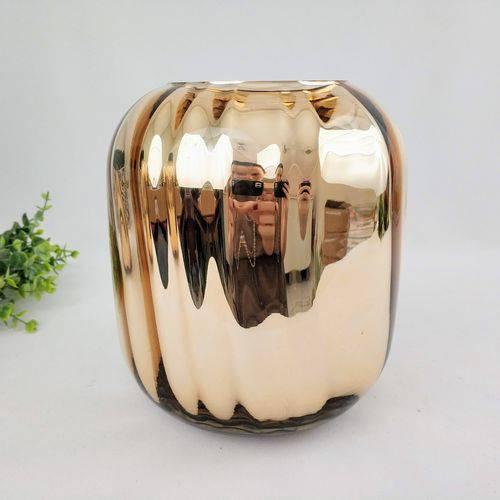 Vaso Decorativo Dourado 20x17cm Vidro Decoração