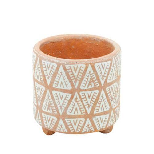Vaso em Cerâmica Indian Laranja 14 Cm
