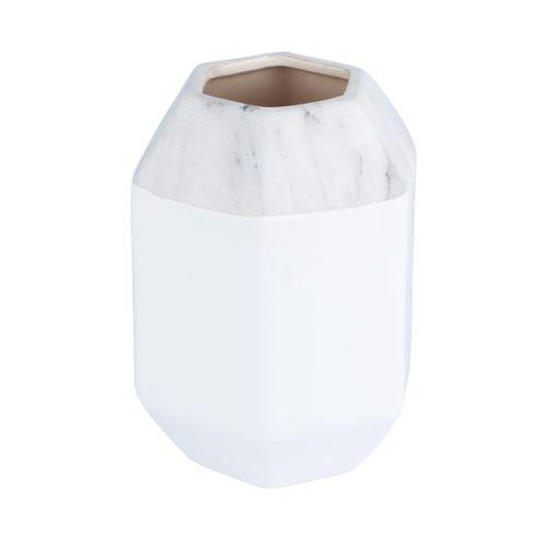 Vaso Hexagonal Branco com Cinza 12cm - Marble
