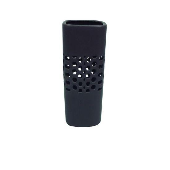 Vaso Quad 10,5 Cm Cinza Escuro