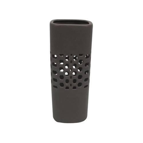 Vaso Quadrado Ceramica Cinza Escuro Studio Collection SRU2021