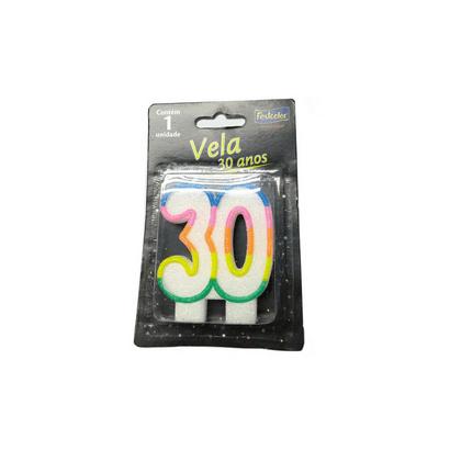 Vela 30 Anos com Glitter Festcolor