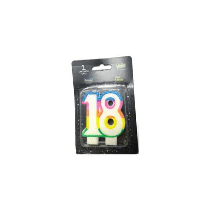 Vela 18 Anos com Glitter Festcolor