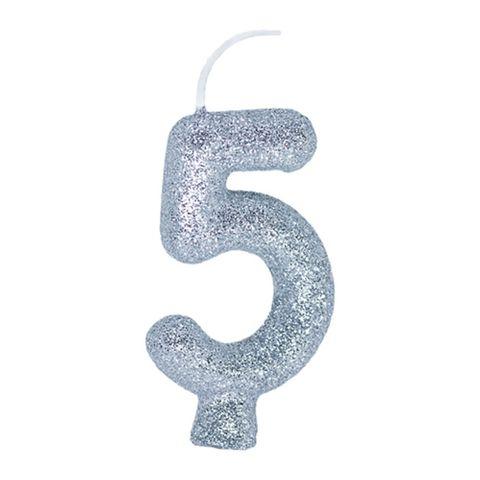 Vela de Aniversário Cintilante Prata Nº 5 - Regina