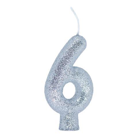 Vela de Aniversário Cintilante Prata Nº 6 - Regina