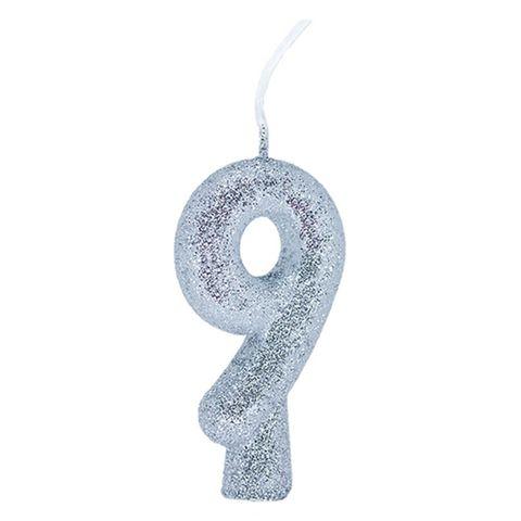 Vela de Aniversário Cintilante Prata Nº 9 - Regina