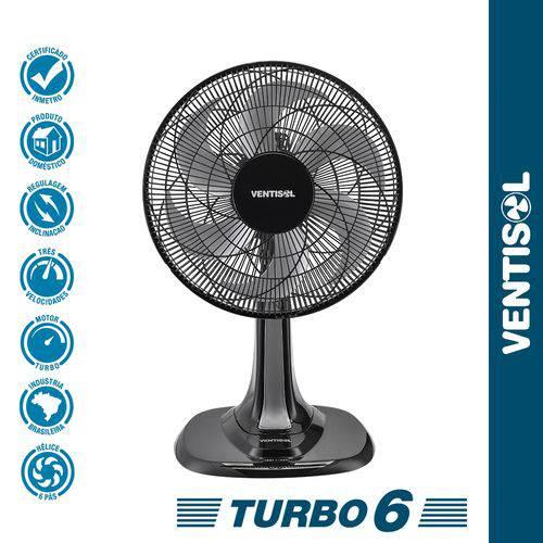Ventilador de Mesa Turbo 30cm Preto 127V Ventisol
