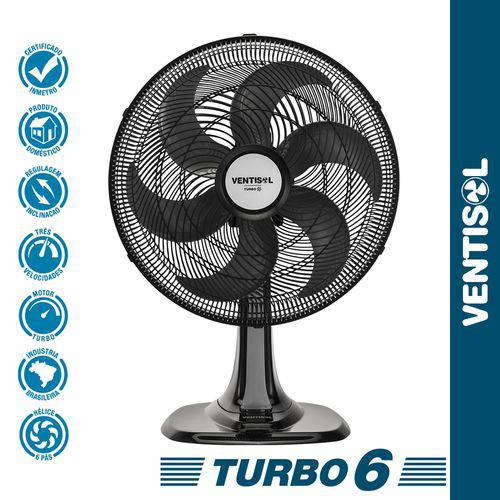 Ventilador de Mesa Turbo 6p 40cm Preto 220V Ventisol
