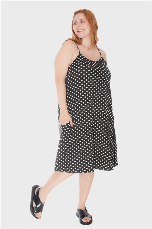 Vestido Alça Fina Plus Size Preto-46/48