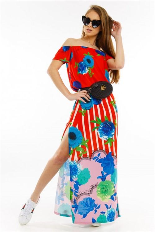 Vestido Amplo Floral com Fenda VE1928 - M