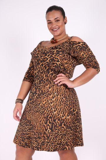 Vestido Animal Print Plus Size Marrom PP