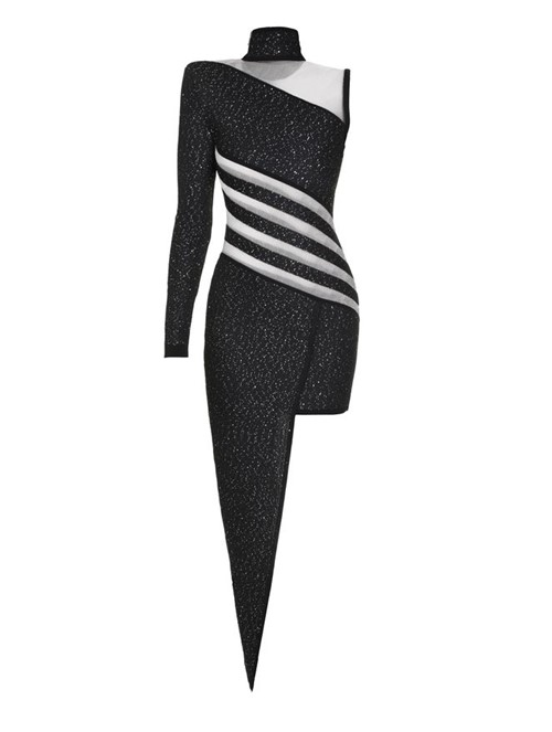 Vestido Assimétrico Sequi Preto Tamanho 38