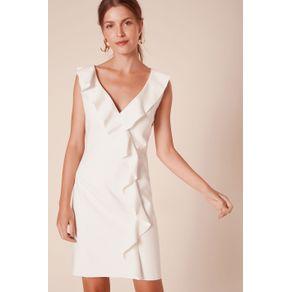 Vestido Babado Curto Off White - 38